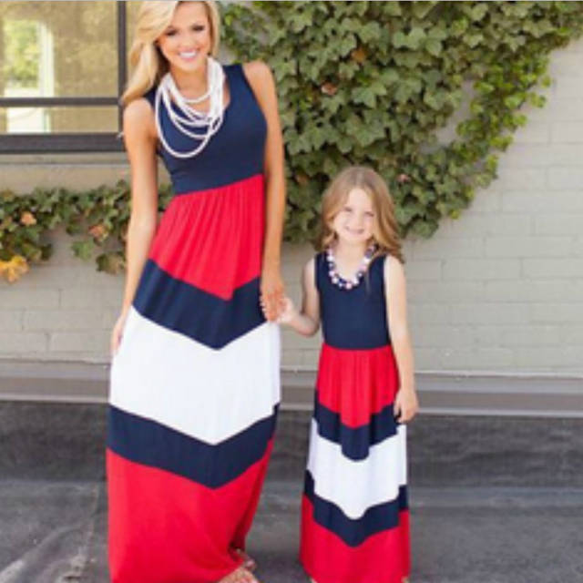 2019 Mommy and me family matching mother daughter dresses clothes striped  mom and daughter dress kids. placeholder ... d32da1046480