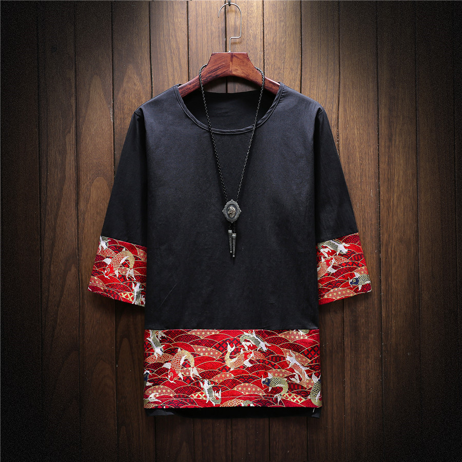 2018 новый национальный стиль лето китайский стиль культурная рубашка с короткими рукавами японская мозаика печать мужская футболка S-5XL