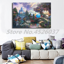 Thomas Kinkade Cinderella Wishes Upon A Dream HD Painting Picture for Living Room Self-portrait Photo Artwork Home Decor