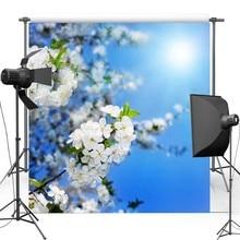 Branco Floral Vinil Cenários de Fotografia Pano de Fundo da Luz Do Sol Azul Céu fundos para Crianças photo studio F1051