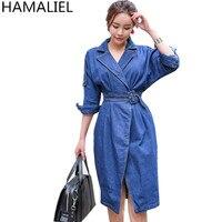 HAMALIEL Korean Jeans Sheath Women Dress 2018 Fashion Autumn Blue Denim Tie Turn Down Collar Bodycon Slim Cowboy Split Dresses