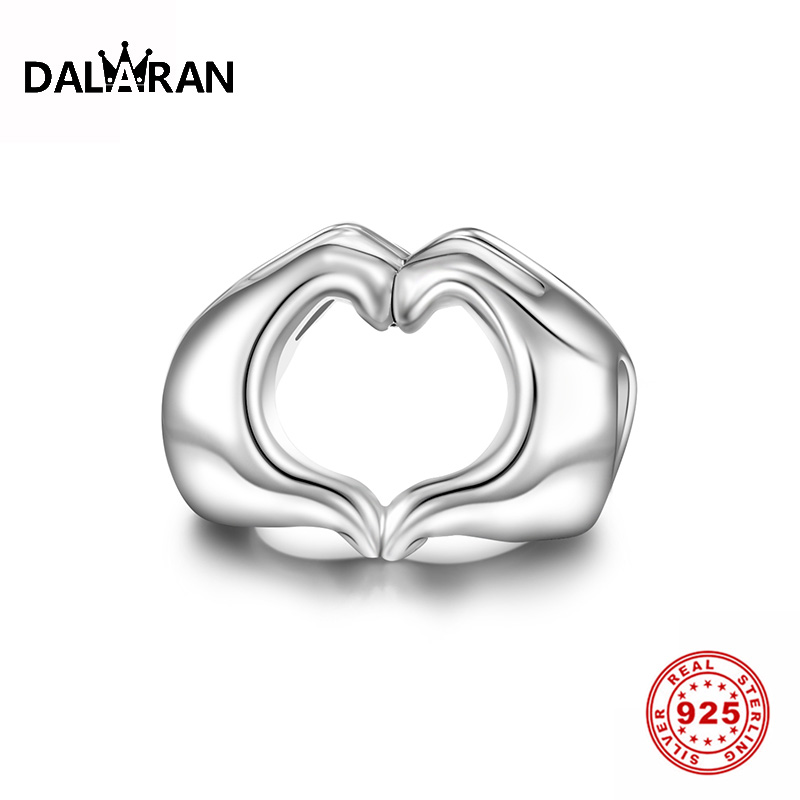 DALARAN 925 Sterling Silver Closed Love Hand Heart European Beads Charm Fit Original Bracelet For Women Gift DIY Jewelry Making
