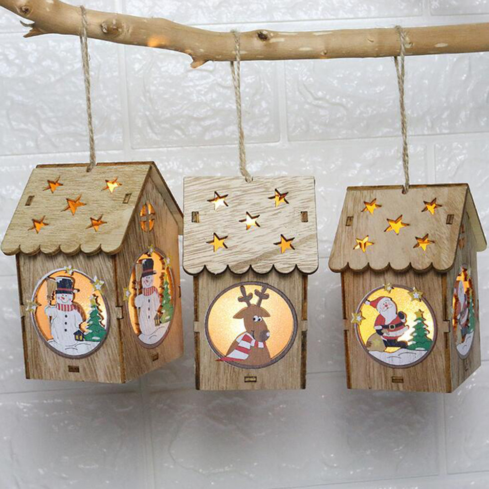 Led Luminous Cabins Pendant LED Light Wooden Dolls House Villa Christmas Ornaments Xmas Tree Hanging Decor USPS Dropshipping