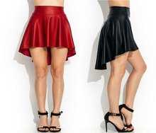 Faux Leather Black Sexy skirts Trendy Dance Party Casual High-Low Skater Skirt S/M/L/XL