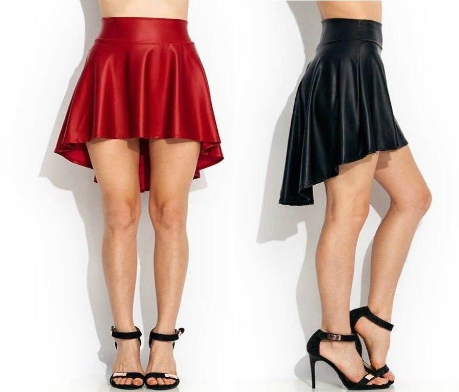 el precio se mantiene estable variedad de diseños y colores lo último € 9.18 |Faldas Sexy negras de cuero de imitación de fiesta de baile de moda  Casual falda de patinadora alta baja S/M/L/ XL-in Faldas from Ropa de ...