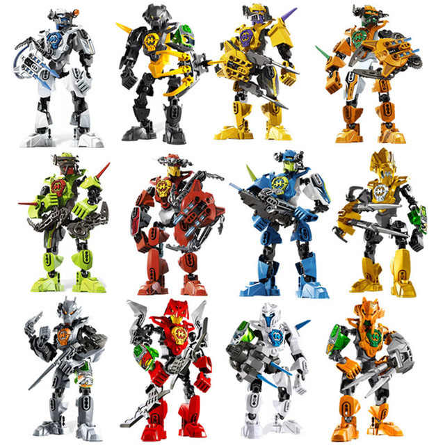 12pcs Hero Factory Star Warrior Soldiers Bionicle  Surge Evo Stringer Robot Figures Building Block Compatible With  Toys
