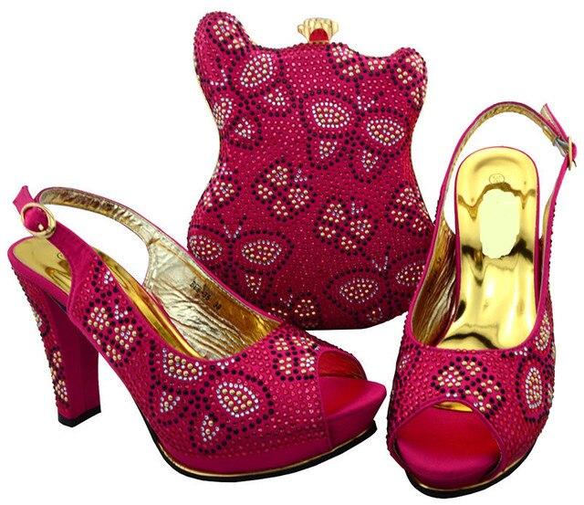 Hot sale fuchsia african shoes match bag set with rhinestones lady high heel shoew and handbag for dress BCH-35,heel 11.5CM