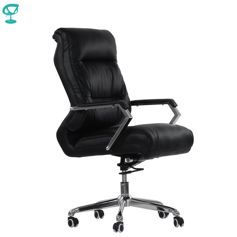 95460 Black Office Chair Barneo K-18 Eco-leather High Back Chrome Armrests With Leather Straps Free Shipping In Russia