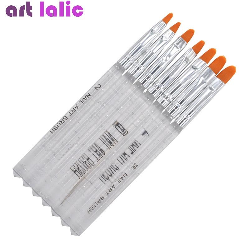 7Pcs Professional Manicure UV Gel Brush Pen Transparent Acrylic Nail Art Painting Drawing Brush Phototherapy Tools