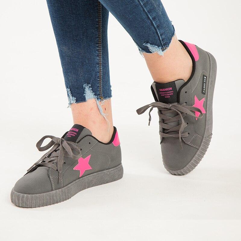 De gris Chaussure Del Estrellas Negro Nuevas Mujeres Lona La Ocasionales Remiendo rosado 2017 Mujer Manera Zapatillas rojo Oscuro Plataforma Zapatos Señoras n8WZxqaTa