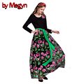 by Megyn 2017 Autumn Brand New Women Runway Embroidery Dress Long Sleeve Floor-Length Lace Maxi Dress Vestidos With Belt LD437