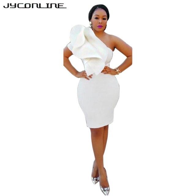 JYConline One Off Shoulder Dress Women Elegant Ruffles Bodycon Summer Dress  Sleeveless Slim Party Dresses Women Club Sexy Dress 6c65749afc