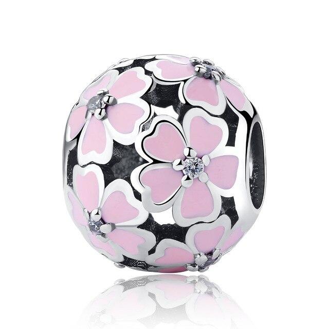 Authentic 925 Sterling Silver Charm Beads Primrose Meadow Pave CZ Enamel Flower Charms fit Original Pandora Bracelets Jewelry