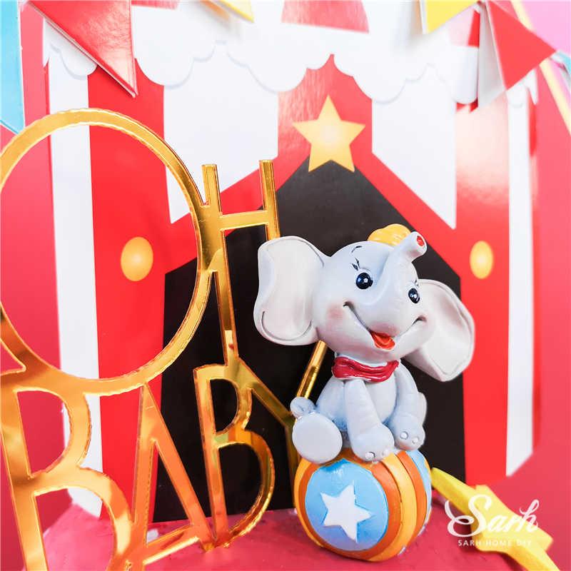 Ins Bolo Topper do Palhaço de Circo Elefante Oh Decoração Brilhante para o Dia das Crianças Festa de Aniversário Do Bebê Suprimentos de Fadas Namorada Presentes