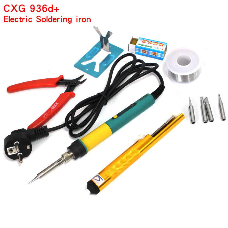 2017 hot sale 936d New Upgrade CXG 936d+ LCD Adjustable temperature Digital Electric Soldering iron 100W 220V EU free shipping cxg 936d digital adjustable temperature electric soldering station electric soldering iron 60w solder tip solder wire rosin