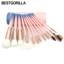 BESTGORILLA best Professional 12pcs makeup brush Beauty tools 12 makeup brush Sets Cylinder Gradient handle with eyebrow brush