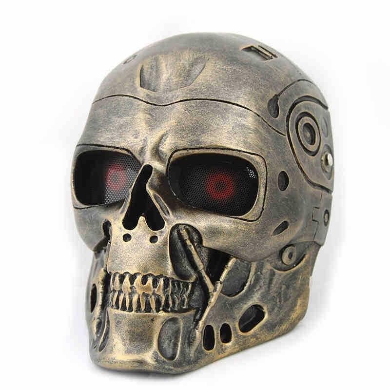 Résine squelette visage masque Cosplay Costume accessoires nouveauté CS Terminator Robot T800 terroriste squelette Halloween effrayant masque
