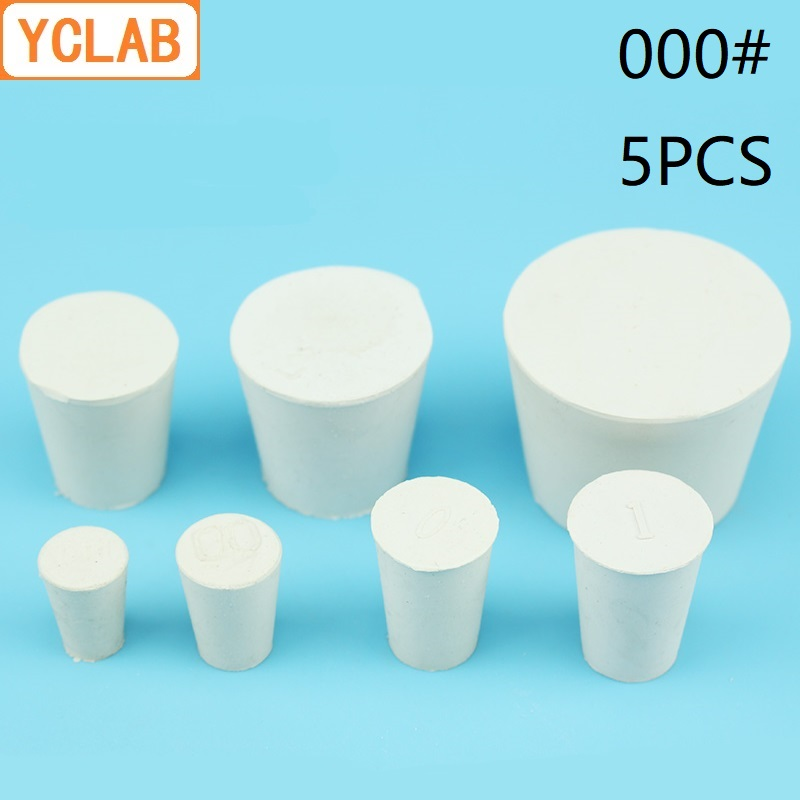 YCLAB 5PCS 000# Rubber Stopper White For Glass Flask Upper Diameter 12.5mm * Lower Diameter 8mm Laboratory Chemistry Equipment