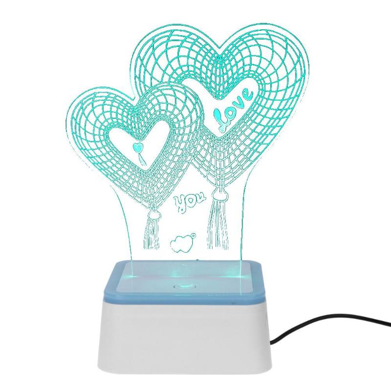 Romantic 3D Love Night Light Color Change Table Lamp for Baby Bedroom Sleeping Bedside Wedding Party Indoor Decorative