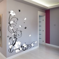 DIY waterproof and removable Vinyl PVC Large Butterfly Vine Flower Wall Stickers Wall Decals home decor