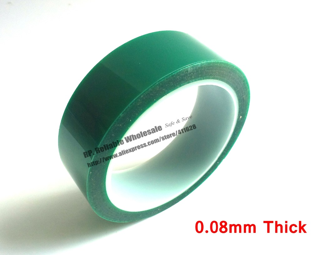 (30mm*33 meters*0.08mm Thick) High Temperature Tape Resistant PET Green Tape for Sticky Powder Coating PCB Plating Shielding 110mm 33 meters 0 08mm single side heat resist sticky pet polyester film tape for protection