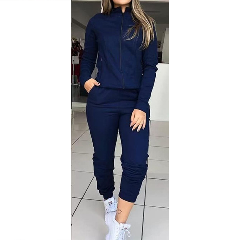 Women's Autumn Solid Color Long Sleeve Sportswear Two-piece Set Femme Casual Tops And Pants Zipper Tracksuit Outfits SJ3615E