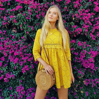 GCAROL Women Hollow Out Crochet Lace Jumpsuits High Wasited Summer Yellow Bright Color Baby doll Playsuits With Pockets