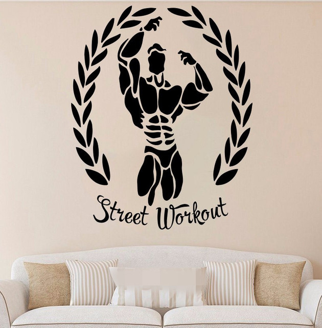 Free shippinh street workout wall stickers sport art graphic die cut vinyl decal home bedroom decor