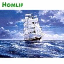 Хомлиф самодельный Алмаз Картина Лодка на море, картина из стразов, полный квадрат, алмазная вышивка море парусный Декор подарок красивый