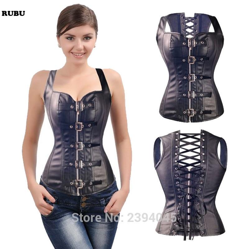Free shipping Sexy Black Faux Leather Buckle Overbust Steel Bone Waistcoat   Corset   Top Steampunk women   Bustier   Cincher Corselet