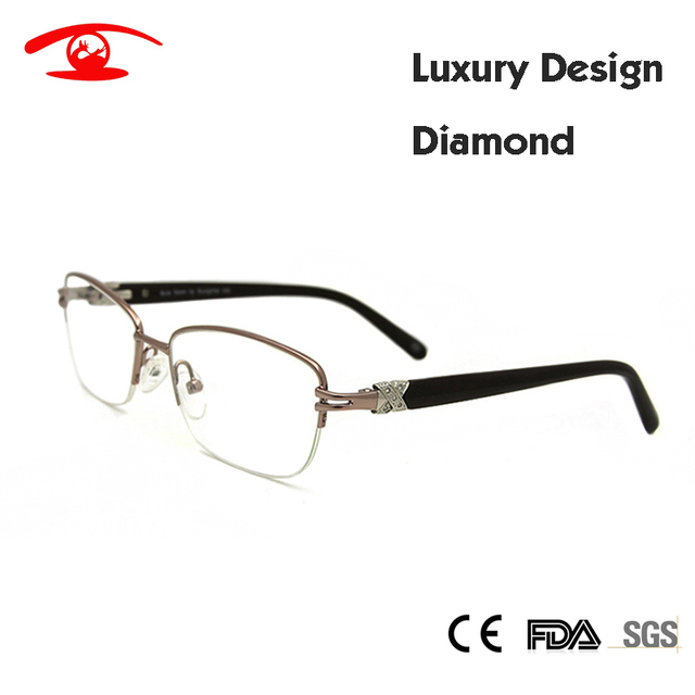 Brand Designer Women Eyeglasses Frame Diamond Half Frame Women's Prescription Eyewear Frames Luxury oculos de grau feminino