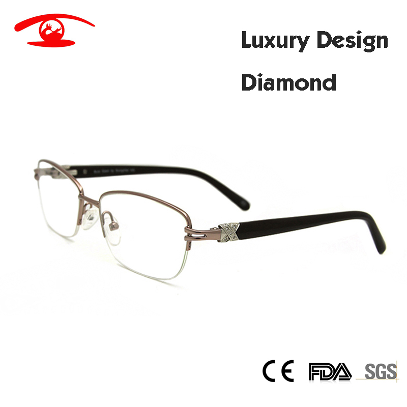 Brand Designer Damen Brillenrahmen Diamond Half Frame Prescription - Bekleidungszubehör