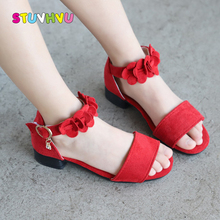 Girls Sandals High-heels 2019 New Summer Children Shoes 3-12 Years Old Flowers Princess Shoes for Girls Student Kids Sandals