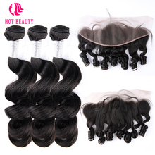 Hot Beauty Hair Peruvian Human Hair Loose Wave Weave Bundler Med Free Part Pre Plukket 13x4 Lace Frontal Closure Remy Hair 4PCS