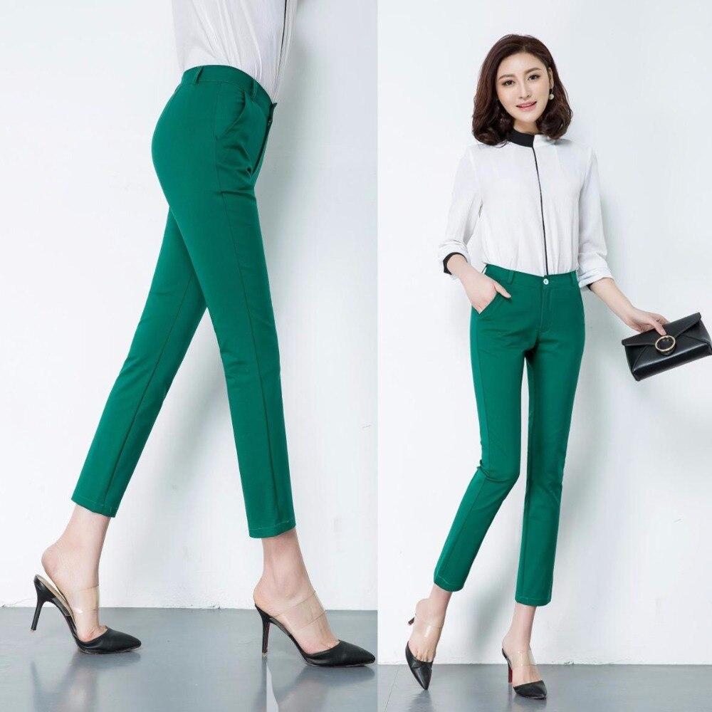 Primavera das Mulheres Doces casuais calças Lápis 2018 nova moda silm elásticas calças de algodão mulheres 20 cor Sólida plus size 4xl calças