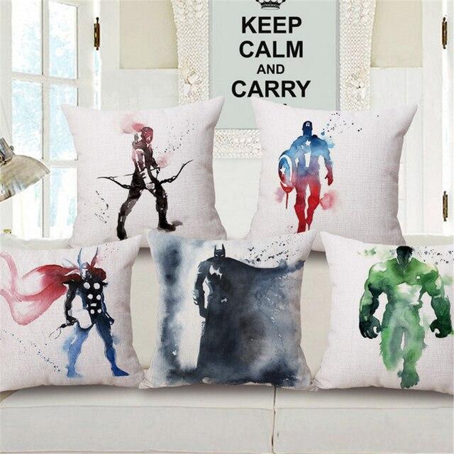 Nordique Le Avengers Super Heros Carre Coton Lin Pouf Coussin Pour