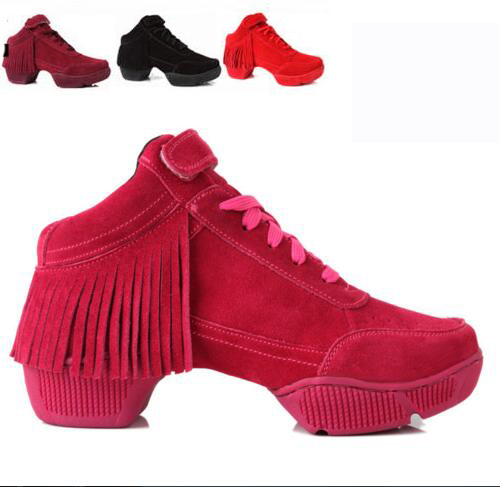 ФОТО New 2017 Leather Dance Shoes Women Jazz Hip Hop Salsa Sneakers For Woman Girls Female Black Red Square Line Dance Shoes