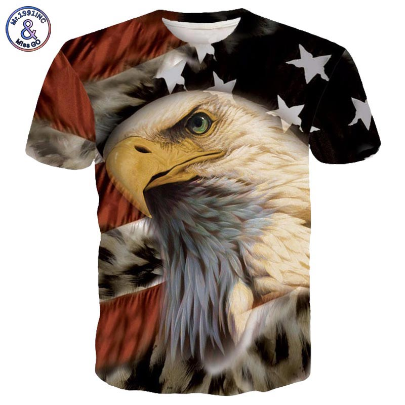 2017 Mr.1991INC Newest Brand Tee Shirt USA America Flag Eagle Print Tshirts Men/Women Hipster 3D T-shirt Hip Hop Tops