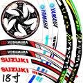 """17 """"Fluorescent Motocicleta Motorbike Jante Stripe Tape Etiqueta para Honda Yamaha Suzuki"""