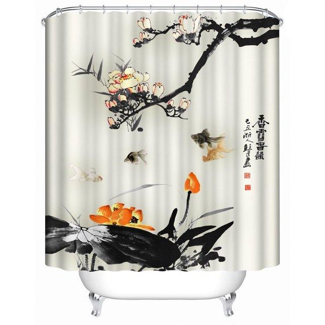 Orange And Black Shower Curtain Decor Kin By Nicola Water Resistant Bathroom Zen Garden Theme View For Magical