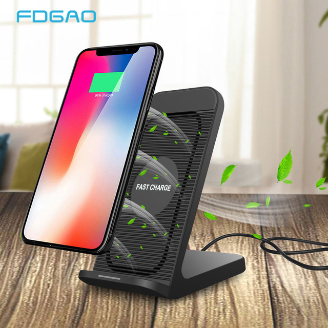 FDGAO Fast Qi Wireless Charger Quick Charge 3.0 USB 10W Fast Charging Stand with Cooling Fan for iPhone XR XS X 8 Samsung S10 S9