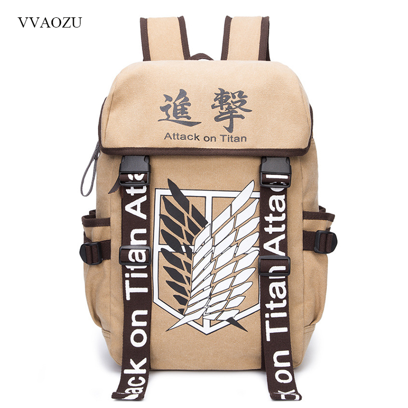 Anime Cosplay Attack on Titan Eren Bag Cartoon Canvas Backpack Shingeki no Kyojin Unisex Schoolbag Shoulders Travel Bags купить недорого в Москве