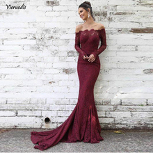 Burgundy Lace Evening Dresses Long 2019 Mermaid Full Sleeves Off the Shoulder Saudi Arabia Women Formal Prom Dress Party Dress