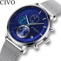 CIVO 2019 спортивные часы для мужчин мужские военные минималистичные водонепроницаемые механические часы из нержавеющей стали деловые наручн