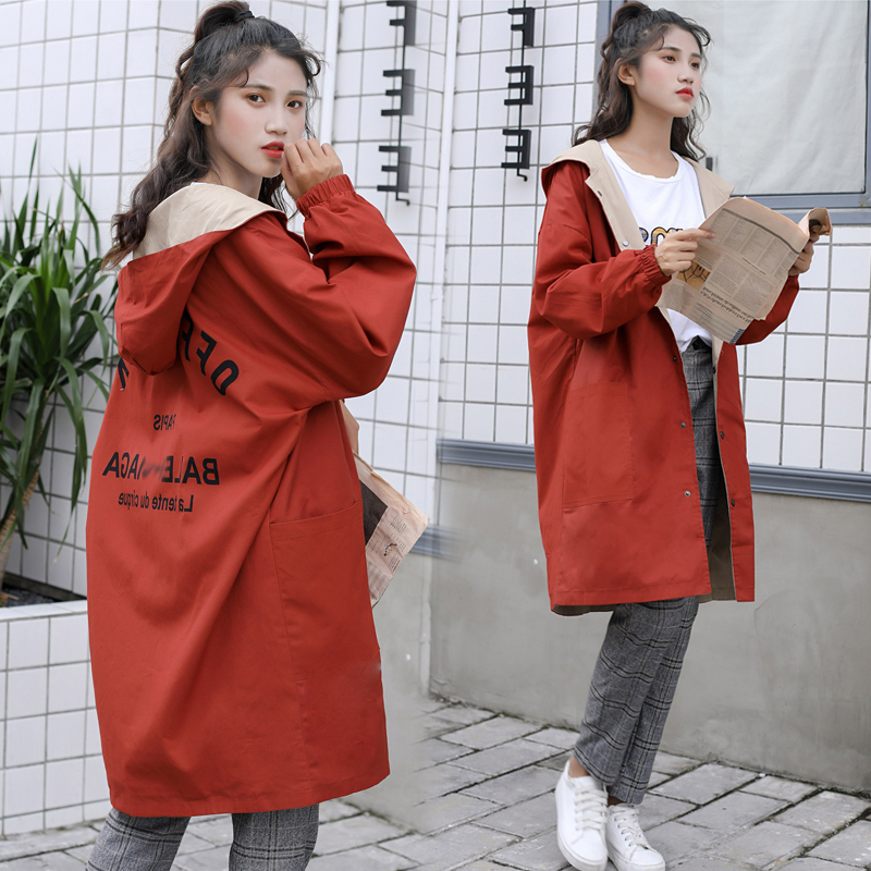 Autumn   Trench   Coat For Girls Clothes women Clothing Cotton Hooded Long Female Clothes Windbreaker Girls