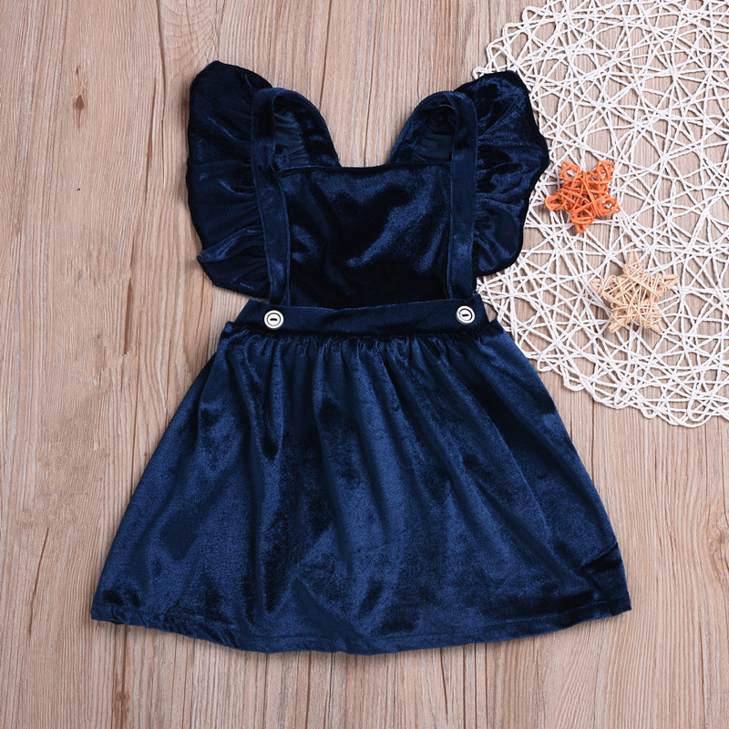 Baby Girls Kids Corduroy Backless Fly Sleeves Dress