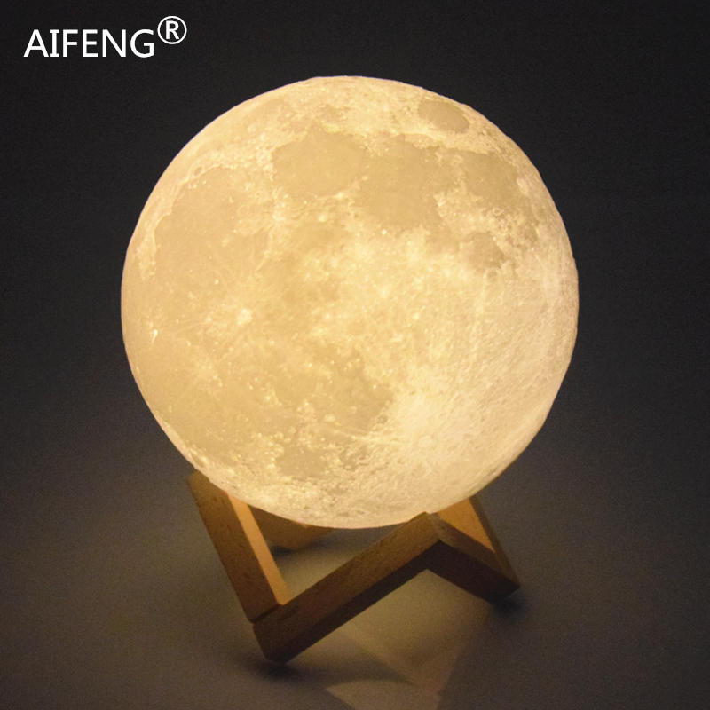 AIFENG 3D Print Moon Lights 3d moonlight Night Lights 3d lamp Built-in rechargeable battery Usb charging moon lamp night lamp ...
