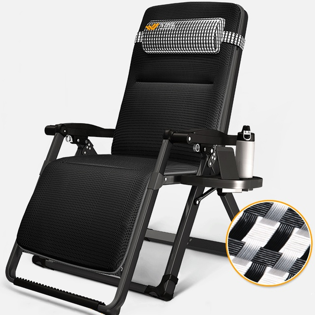 Lounge Chair Patio Gaming Chairs For Adults Padded Folding Nap Recliner Zero Gravity Adjustable Reclining With Cup Holder Office Outdoor Yard Porch