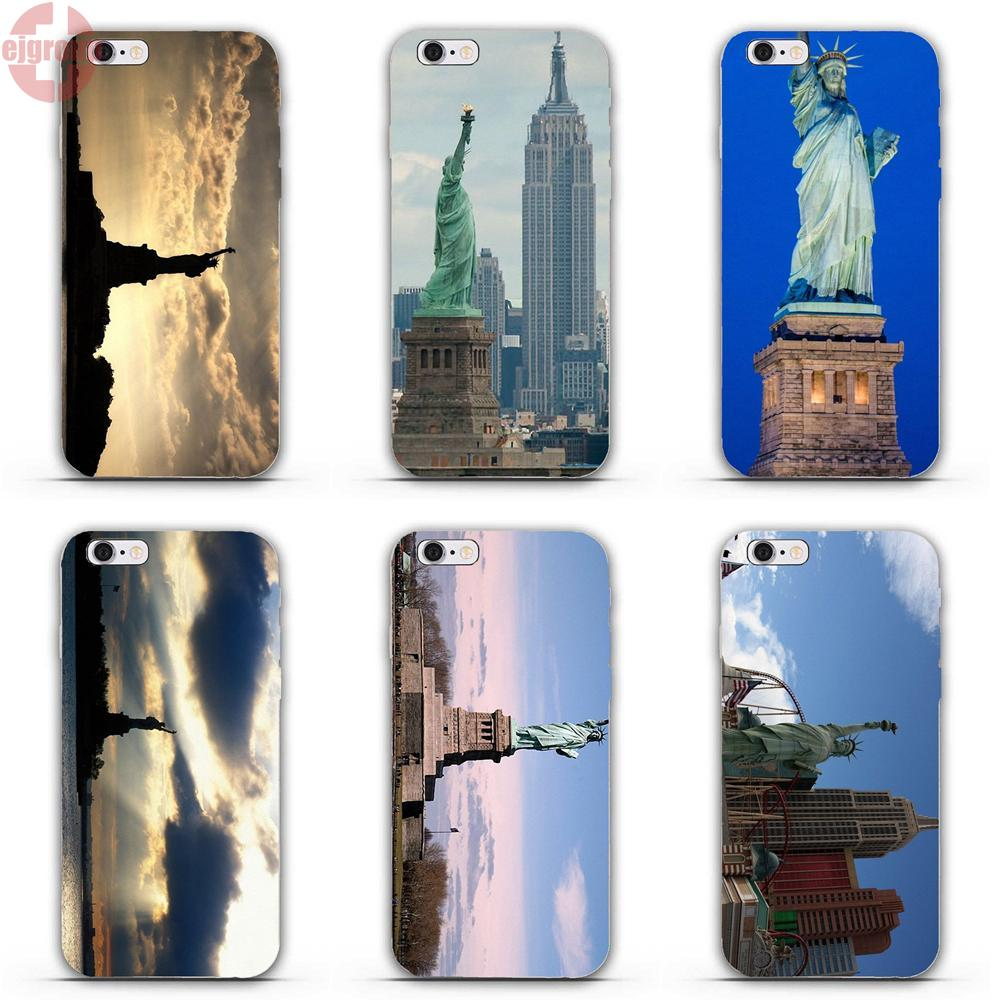 EJGROUP For iPhone 4 4S 5 5C SE 6 6S 7 8 Plus X Soft TPU Silicon Screen Protector New York City Ny Statue Of Liberty