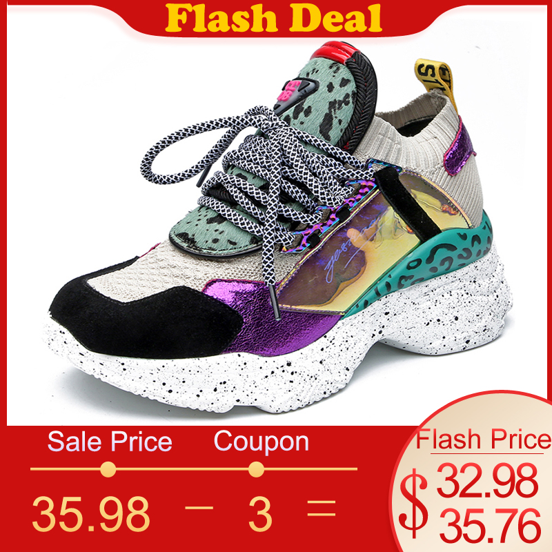 Jookrrix Femmes Chunky Sneakers Femmes Cheval Cheveux Chaussures En Cuir De Mode chaussures pour femme Haute 7 CM Léopard chaussures à semelles compensées pour Dame